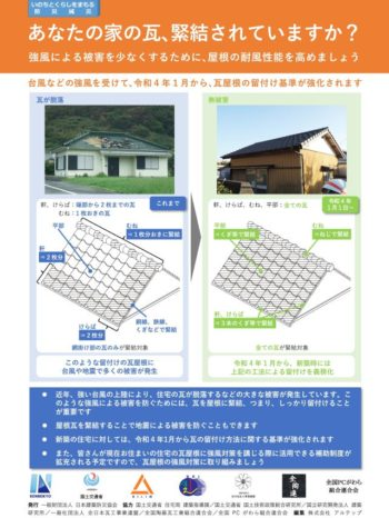 令和4年1月から屋根瓦の留め付け基準が強化されます